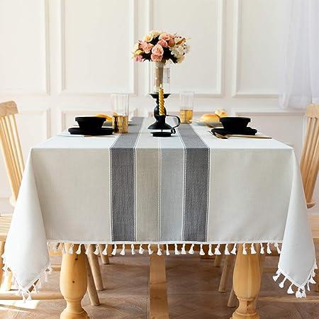 Carvapet Nappe Rectangulaire Anti Tache Lavable Nappe de Table Coton Lin Nappe Brodé Gland Nappes pour Cuisine Table à Manger Décoration de Buffet (Rayure Grise Pompon, 140x200CM)