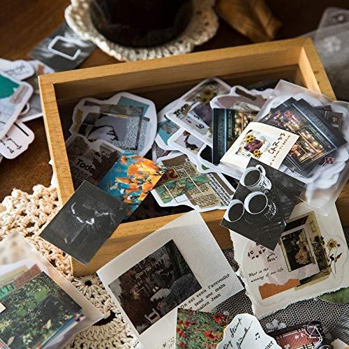 PMSMT 40 Piezas de Arte Fresco música de Viaje Pegatinas de Flores álbum de Fotos Cuenta de Mano Collage decoración papelería Pegatinas