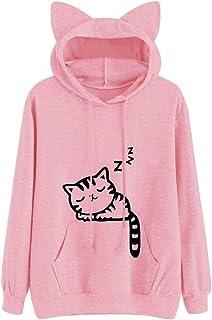 Sudaderas Mujer Marca Fossen Oreja de Gato Sudadera con Capucha Sólido Tops Blusa Camisa de Manga Larga para Adolescentes ...
