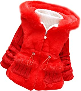 Ancia Baby Girls Infant Winter Knited Fur Outerwear Coats Snowsuit Jackets