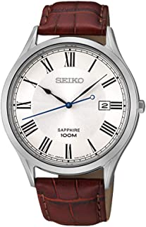 Seiko Mens Quartz Watch, Analog Display and Leather Strap SGEG97P1