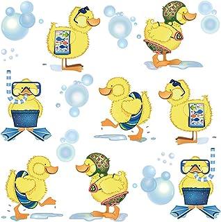 ufengke Pegatinas de Pared Patos Amarillos Vinilos Adhesivos Pared Baño Decorativos para Habitación Infantiles Niños Bebé