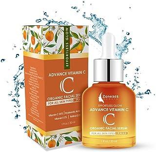 ZONE – 365 Vitamin C Topical Facial Serum for All Skin Types; with Hyaluronic Acid, Retinol, Vitamin E; 1 fl oz