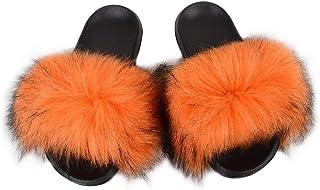 Women's Fur Slides Slipper Sandals Faux Fuzzy Slides Fluffy Sandals Open Toe Indoor/Outdoor Shose