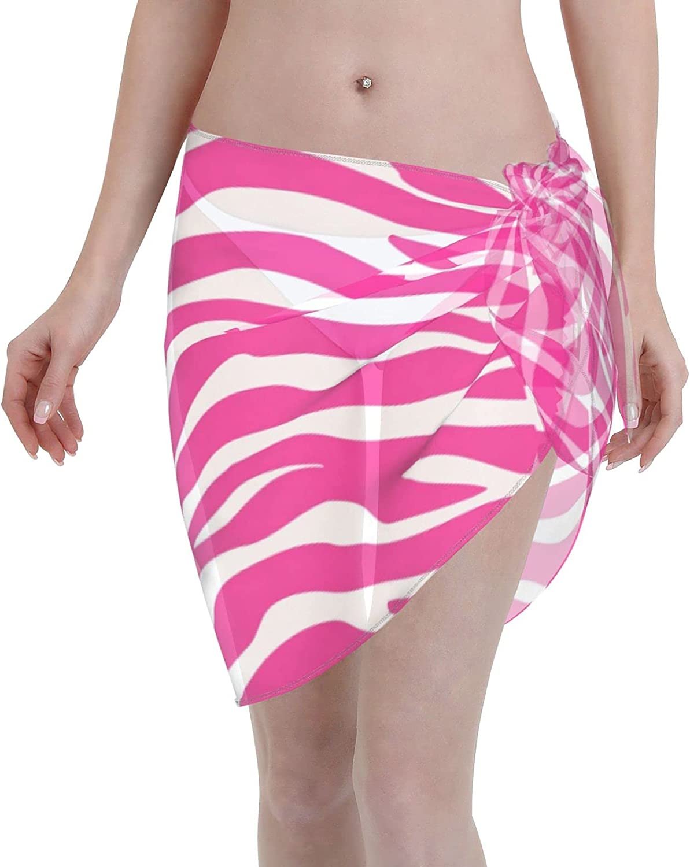 Reindeer Horn Women Short Pink Zebra Stripes Sarongs Cover Ups Beach Chiffon Sarong Bikini Swimwear