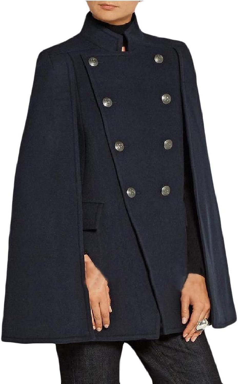 ROHEP Women Wool Blend Classic Shawl Cashmere Caftan Poncho Walker Coat