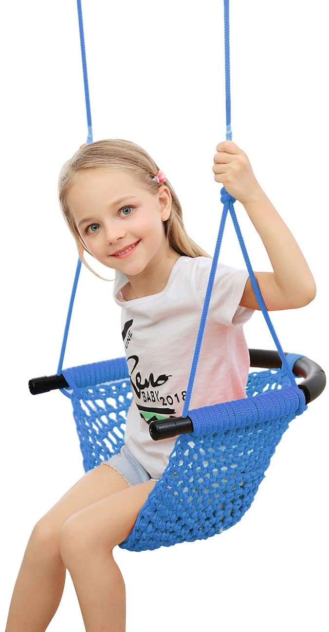 ROPECUBE Hand-Knitting Toddler Swing, Swing Seat for Kids with A