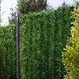 FairyTrees Seto Artificial, GreenFences, Cubierta de Valla, Terraza, Balcón, Verde Oscuro, de PVC Sintético, Siempre Verde, Altura 100 cm, 3 m