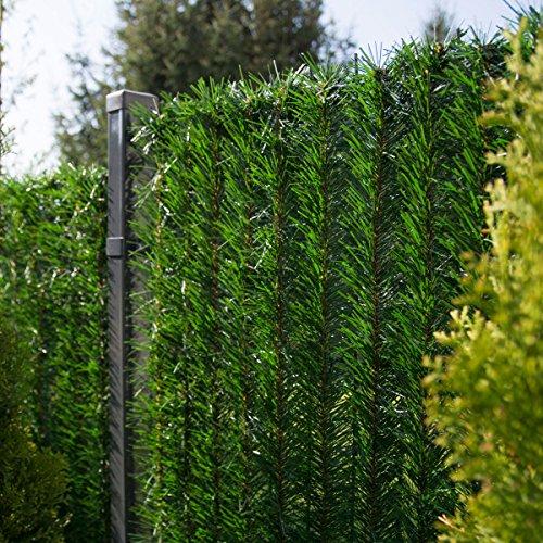 FairyTrees Sichtschutz Garten Zaunblende, GreenFences Hecke, Kiefernoptik Dunkelgrün, PVC, Höhe 90cm, 3m