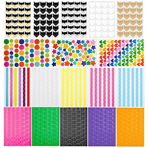 18 hojas de pegatinas para álbumes de fotos juego de accesorios niños, papel kraft colorido esquinas colores, pegatinas autoadhesivas para bricolaje álbum de recortes diario de viaje libro de memoria