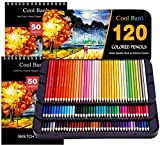 120 Professional Colored Pencils, Artist Pencils Set with 2x50 Page Drawing Pad(A4) for Coloring Books, Premium Artist Soft Series Lead with Vibrant Colors for Sketching, Coloring