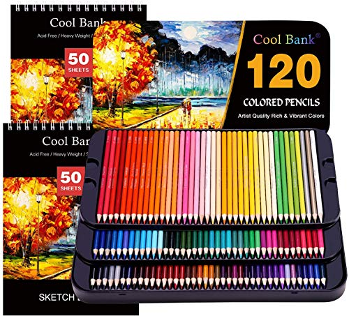 120 Professional Colored Pencils, Artist Pencils Set with 2x50 Page Drawing Pad?A4? for Coloring Books, Premium Artist Soft Series Lead with Vibrant Colors for Sketching, Coloring