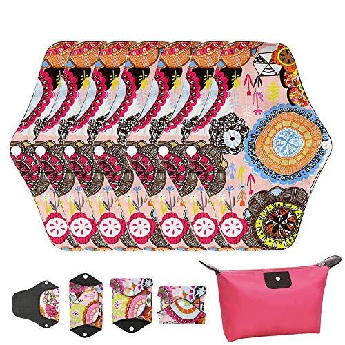 LIVEHITOP Almohadilla Menstrual Reutilizables - 7 Pieza Compresa Sanitarias Carbón Bambú Algodón con Bolsa para Posparto Incontinencia Hembra, Regalos día de San Valentín Mujeres