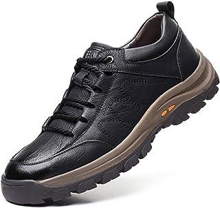 COOPCUP Zapatos casuales de los hombres de cuero de la primavera con cordones de la plataforma