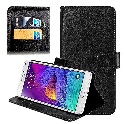 subtel® Smart Case Compatible con Samsung Galaxy/Ace 2 / Ace 3 / Ace 4 / S/S Zoom / S4 Mini Similpelle Cover a Portafoglio Custodia a Libro Flip Case Flip Flip con Porta Carta di Credito Nero