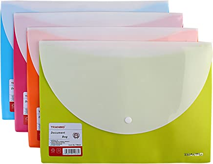 TRANBO PP A4 Document Bags with Front & Back Pockets, Set of 4, (Assorted Colors)