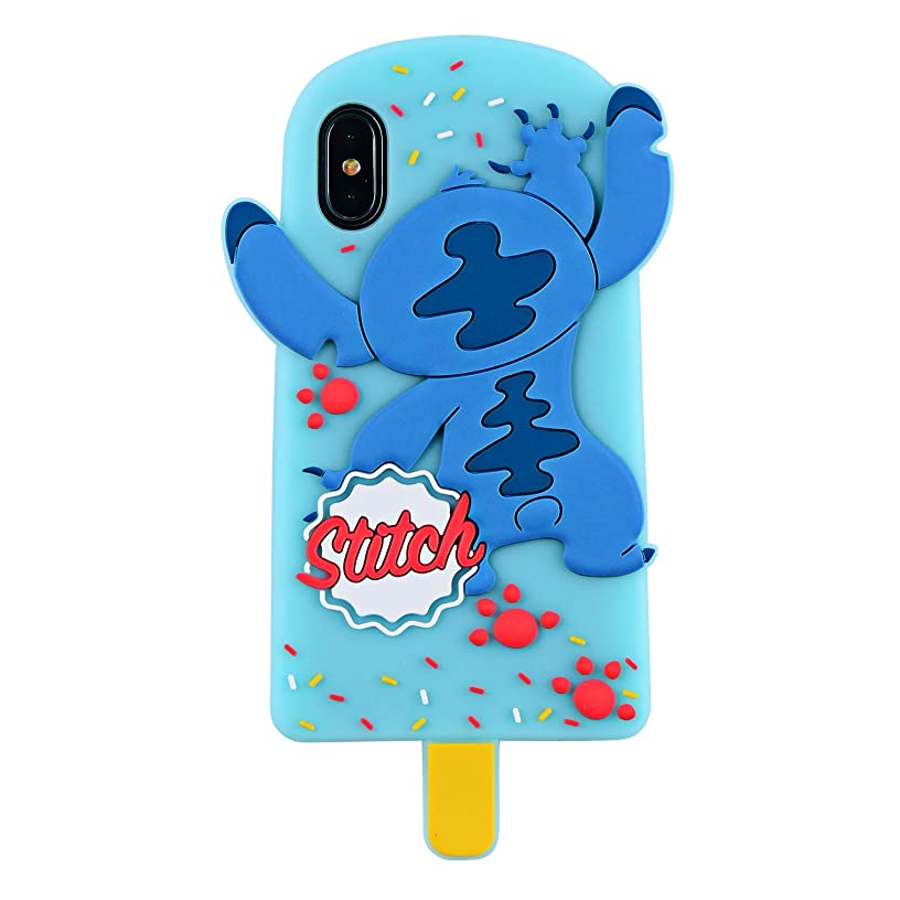 Ice Cream Stitch Case for iPhone X / 10,3D Cartoon Animal Cute Soft Silicone Rubber Character Blue Cover,Kawaii Animated Stylish Funny Cool Skin Cases for Boys Kids Child Teens Girls Guys (iPhone X)