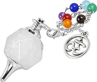 TUMBEELLUWA Crystal Quartz Pendulum Dowsing 7 Chakra Faceted Stone Reiki Healing Meditation Yoga Divination