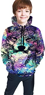 Cyloten Kid's Sweatshirt Star Wolf Pattern Pullover Hoody Teen's Breathable Long Sleeve Sports Hoodies