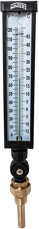 Winters TIM102LF Lead Free Well Thermometer 3 4 NPT 0 To 120 Degrees F 1 Accuracy Graphite Filled