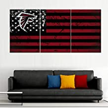 Native American Decor Atlanta Falcons Painting Patriotic USA Flag Pictures Stars Stripes Artwork Giclee 3 Panel Red Canvas Wall Art for Home Framed Stretched Ready to Hang in Living Room (60''Wx28''H)