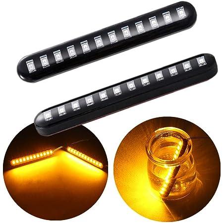 NAKOBO LED バイク ウインカー 12V汎用 貼り付け ライセンスランプ プラス コーナリングランプ 流れるステアリングランプ 閃光 インジケーター シグナル 流れる方向指示器 12LED 防水 流れるアンバー(2個入り)