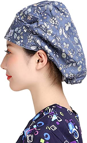 H-Shero 1/2/3 PCS Men's Women's Adjustable Cap Hair Covers Bouffant Working Hats with Sweatband Multi-Color
