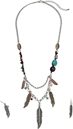 Feather Charms Necklace/Earrings Set