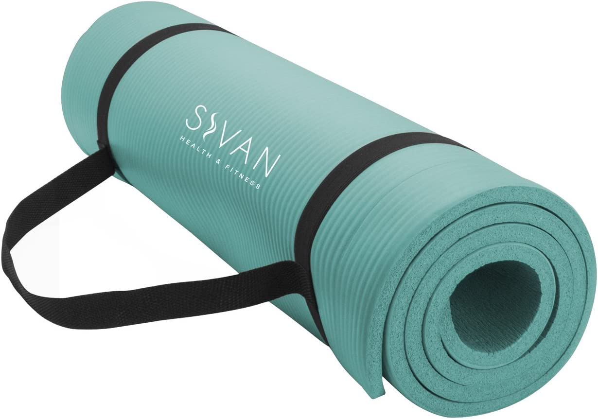 Sivan Health and Fitness 1/2-InchExtra Thick 71-Inch Long NBR Comfort Foam Yoga Mat for Exercise, Yoga, and Pilates