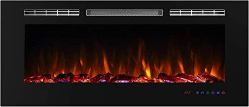 Valuxhome 50 Inches Electric Fireplace Insert with Remote Control, Timer and Thermostat Setting, Crystal and Logset Fuel Bed, 1500W, Black