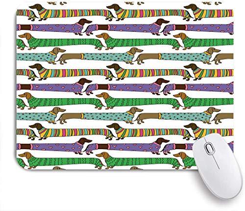 HASENCIV Alfombrilla de Ratón,Dachshunds de estilo de dibujos animados vestidos con pijamas Chevron Lines, lunares y corazones,Alfombrilla de ratón gaming,Base de Goma Antideslizante,Mouse Pad 24x20cm