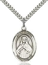 Sterling Silver Catholic Patron Saint Medal Pendant, 1 Inch