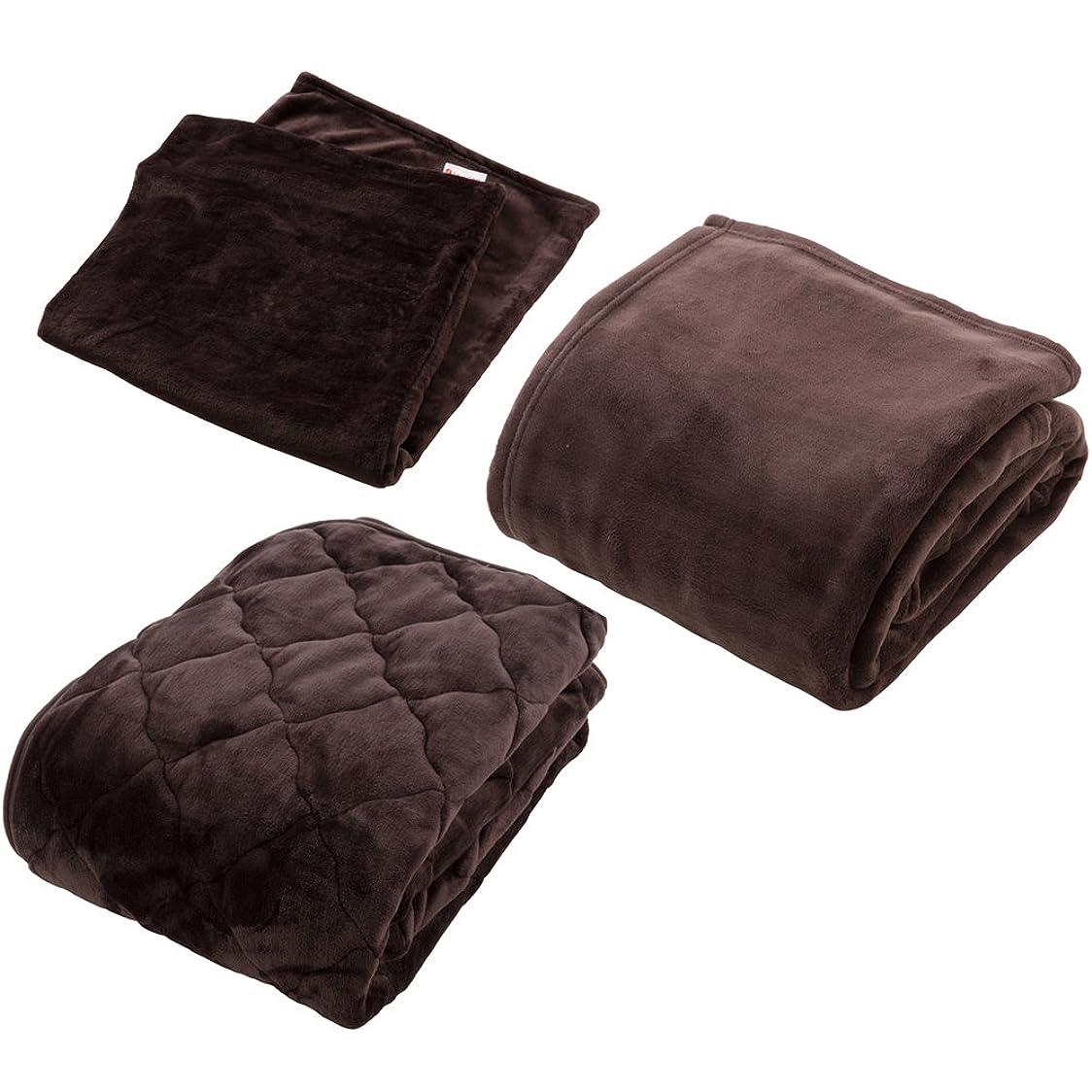 ファーザーファージュ静かに聖職者【同色セット】mofua×fondan プレミアムマイクロファイバー 毛布?敷パッド?枕カバー シングル ダークブラウン