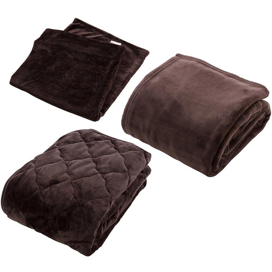 代表団スリップシューズ印象的【同色セット】mofua×fondan プレミアムマイクロファイバー 毛布?敷パッド?枕カバー シングル ダークブラウン