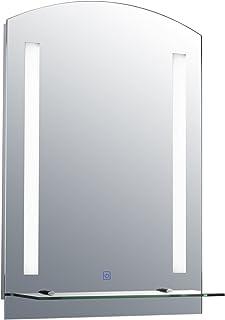 HOMCOM Miroir Lumineux LED 22 W Interrupteur Tactile étagère intégrée 50L x 15l x 70H cm