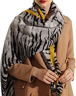 Women Long Scarf Soft Shawl - Animal Print Scarves Stole Wrap Cape Ladies Clothing Accessory Pashmina Neckerchief Leopard Print Spinning Tassel Presents for Birthdays