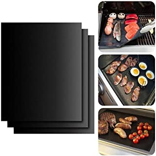 BBQ Grill Mat Set of 3 Non Stick BBQ & Baking Mats Reusable and Easy to Clean Barbecue Fish Vegetable Smoking Accessories ...