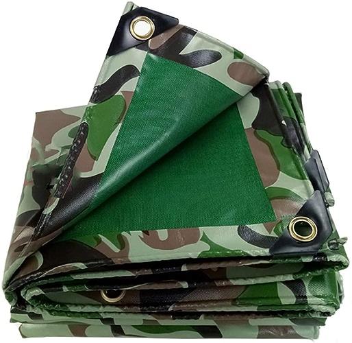 XUEYAN Bache imperméable Double Face résistante de Camouflage Vert, Tissu Anti-Froid, baches de Tente de Camping de Couverture Solaire Anti-poussière de Camping, 450g   (Taille   5mx8m)