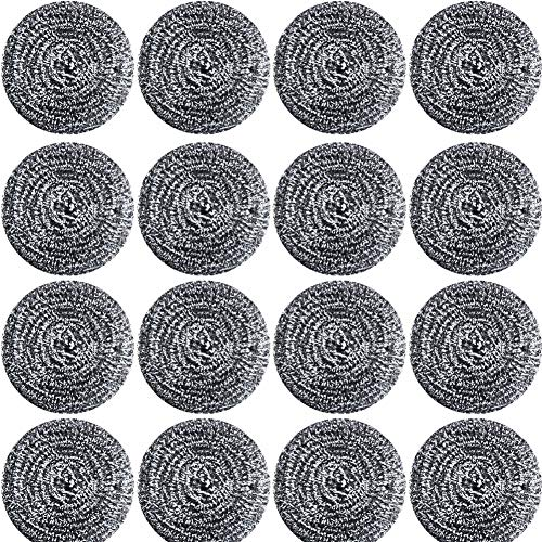 16 PCS Stainless Steel Sponges Scrubbers Cleaning Ball Utensil Scrubber Density Metal Scrubber Scouring Pads Ball for Pot Pan Dish Wash Cleaning for Removing Rust Dirty Cookware Cleaner 16 Packs