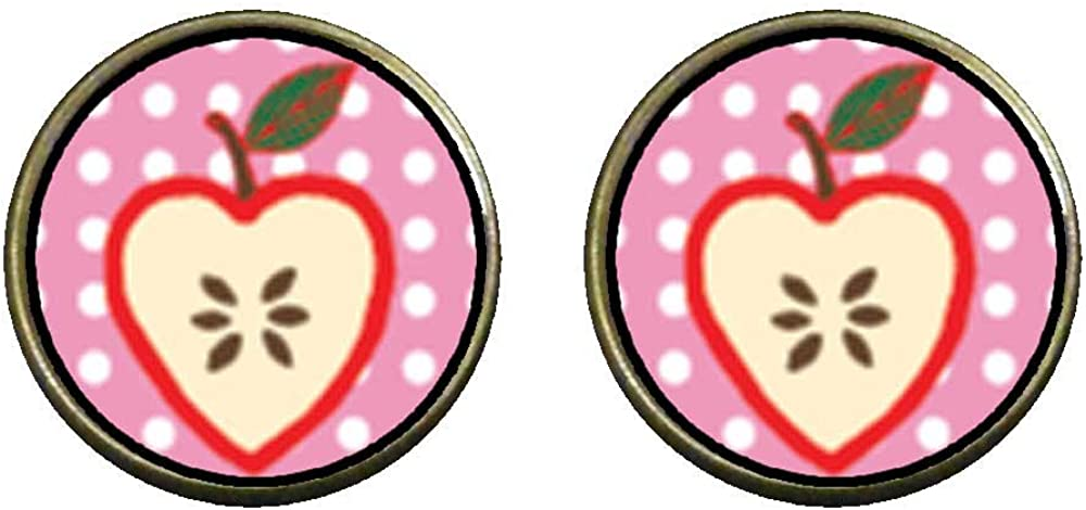 GiftJewelryShop Bronze Retro Style Sliced Heart Apple Photo Clip On Earrings 14mm Diameter