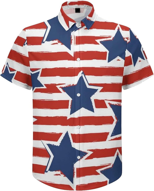 Mens Button Down Shirt US Stars Stripes Casual Summer Beach Shirts Tops