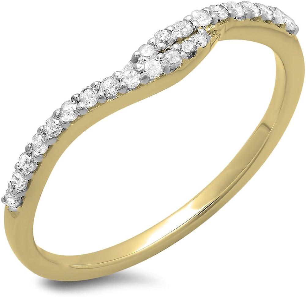 0.20 Carat (ctw) 18K Gold Round Cut Diamond Ladies Anniversary Wedding Band Guard Ring 1/5 CT