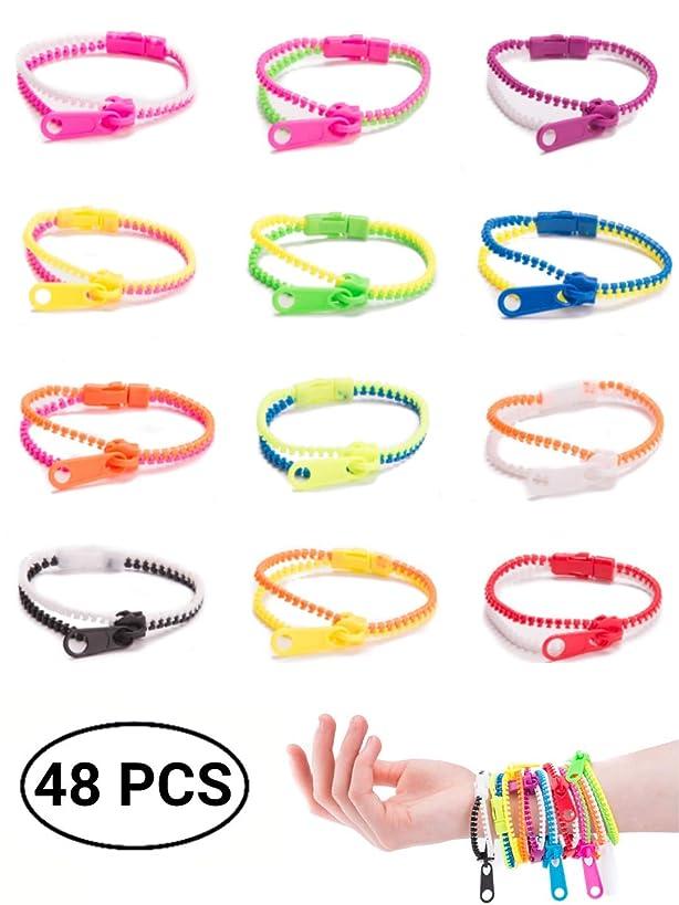 UpBrands 48 Pack Friendship Fidget Zipper Bracelets, Sensory Toys Bulk Set Neon Colors, Kit for Birthday, Party Favors for Kids, Goodie Bags, Easter Egg Basket Stuffers (48 Pack, 7.5 Inches)