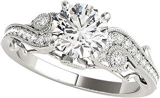 0.60 Ct. Diamond Engagement Bridal Ring Set 14K Solid White Gold
