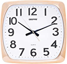 Geepas GWC4808 Round Wall Clock, White and Gold