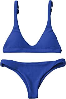 Women Padded Scoop Neck 2 Pieces Push Up Swimsuit Revealing Thong Bikinis V Bottom Style Brazilian Bottom Bra Sets