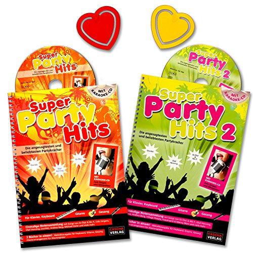 Super Party Hits / Band 1 + 2 / 2xKaraoke CDs / Für Keyboarder, Gitarristen und Sänger gibt es eine Melodiestimme mit Akkorden, Songtexten, Rhythmusangaben, Soundvorschlägen, Tempohinweisen und Akkord-Grifftabelle - mit 2 herzförmigen Notenklammern