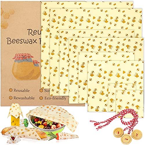 BEYAOBN 8PCS Involucri di Cera d'api,Beeswax Wraps, sostenibile, zero rifiuti, Impacchi di Cotone Biologico e stoccaggio Alimenti Variety Pack Formaggi, Frutta, Verdure