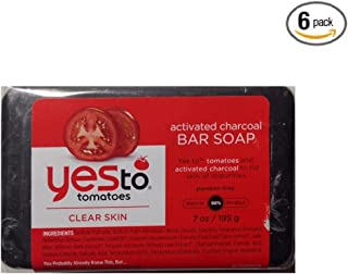 Yes to Tomatoes Clear Skin Activated Charcoal Bar Soap 7 oz (Pack of 6)