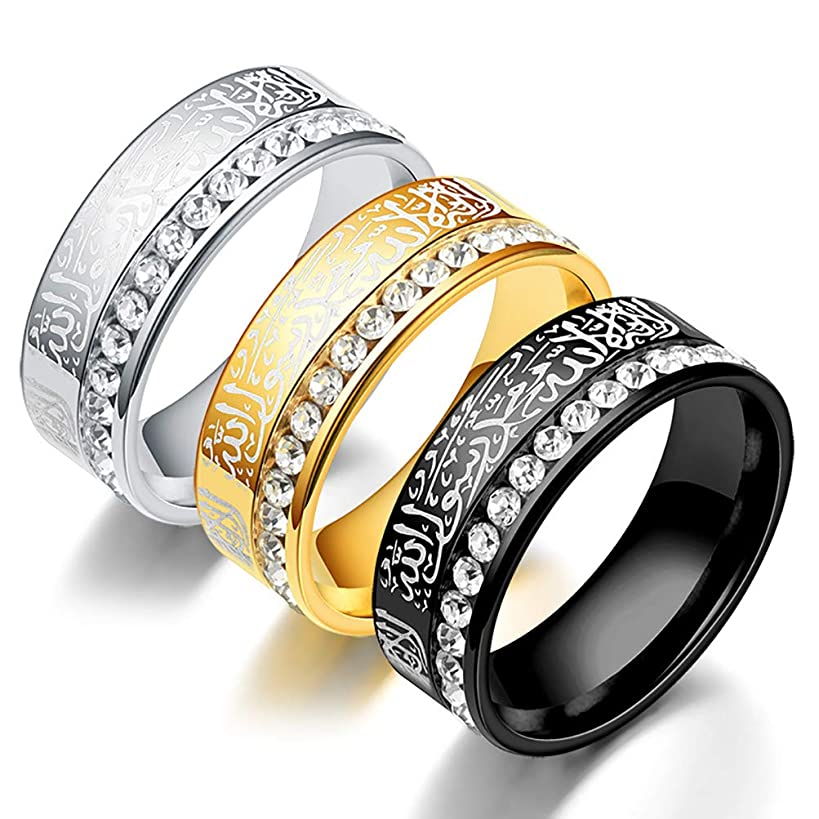 Wind Goal 3 Pack Religion Muslim Ring Stainless Steel Ring with Artificial Diamond Wedding Jewelery Band Gifts for Men Women